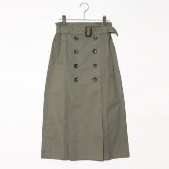 スタイルブロック STYLEBLOCK ベルト付きタックトレンチミモレ丈スカート (カーキ)