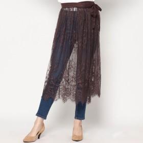 スタイルブロック STYLEBLOCK スカラップレースラップスカート (ブラウン)