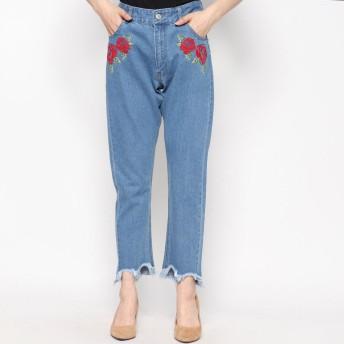 スタイルブロック STYLEBLOCK 刺繍入りハイウエスト裾フリンジテーパードパンツ (ブルー)