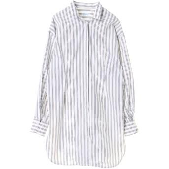 Finamore フィナモレ フィナモレ / 変形ストライプロングシャツ シャツ・ブラウス,ホワイト/ネイビー