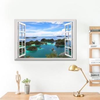 ウォールステッカー 壁紙シール シールタイプ 窓辺 窓枠 景色 風景 3D 立体的 孤島 海 青空 美麗 壁シール トリックアート だまし絵 はがせる