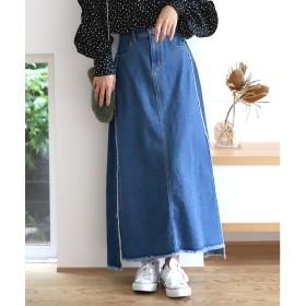 Bou Jeloud ◆切替デザインが新鮮◆デニムロングスカート(ブルー)【返品不可商品】