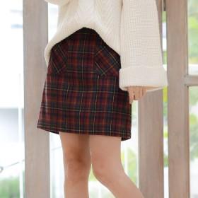 ジーラ GeeRA チェック柄フロントポケット台形スカート (ボルドーケイ)