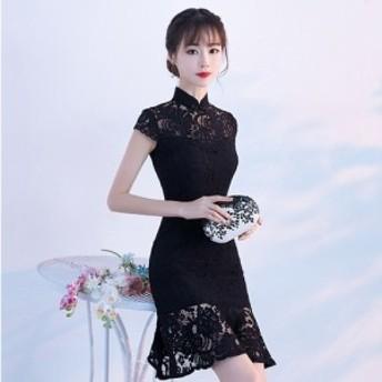 チャイナ風 ワンピース ドレス 結婚式 お呼ばれ 20代 30代 スタンドカラー 花柄レース タイト 半袖 ひざ丈 マーメイド