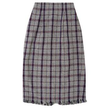 リエディ Re: EDIT ウール混カラーチェック柄フリンジタイトスカート (ホワイト)