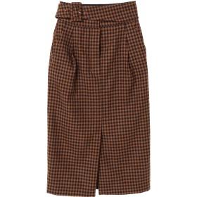 Lachement ウルグアイウールチェックタイトスカート ミモレ丈・ひざ下丈スカート,ベージュ系