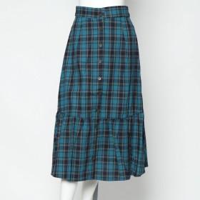 スタイルブロック STYLEBLOCK 先染めチェックロングスカート (ターコイズ)