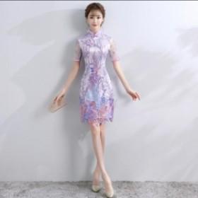 c35877147dbbd 可愛い チャイナドレス ショート丈 着痩せ チャイナドレス風ワンピース 半袖 チャイナ服 チャイナドレス