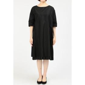 petite robe noire petite robe noire(プティローブノアー) レイヤードヘム6分袖シルクワンピース カラーフォーマル,ブラック