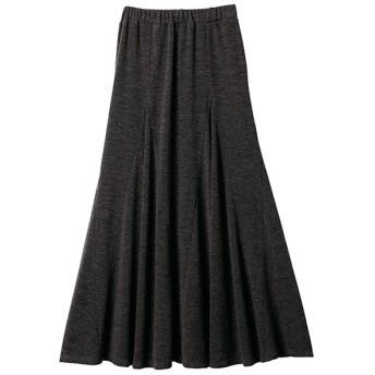 Ranan 裾切替フレアーマキシスカート(チャコール)