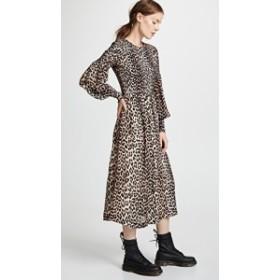 ガニー ドレス ミディドレス  レディース【Ganni Printed Georgette Dress】Leopard
