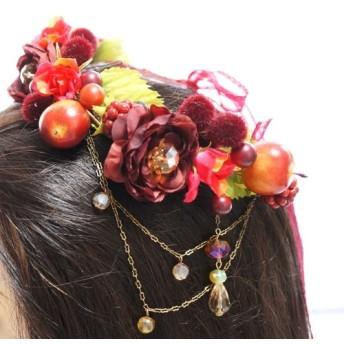 *年末SALE対象商品*りんごと赤いお花のショートヘッドリース(U.S.A直輸入ビーズ付き)