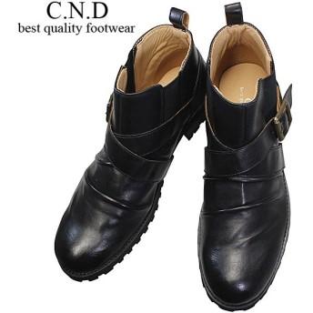 メンズ ブーツ CND549 ブラック カジュアル ショートブーツ エンジニアブーツ 紳士靴 サイドゴア