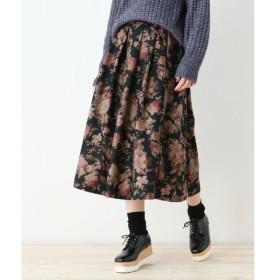 OZOC / オゾック 【洗える】ミディ丈ヴィンテージ風花柄フレアスカート