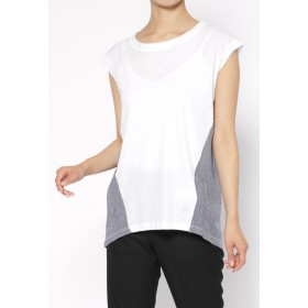DIMENSIONE danza ノースリーブTシャツ Tシャツ・カットソー,WHITE/IRREGULAR POIS