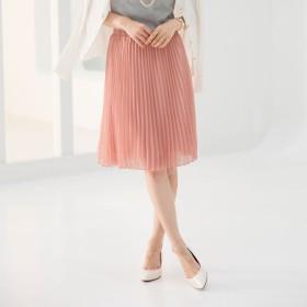 ジーラ GeeRA 選べる2丈 シフォンプリーツスカート (ピンク-ミディアム)