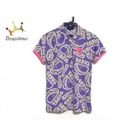 パーリーゲイツ PEARLY GATES 半袖ポロシャツ サイズ1 S レディース パープル×ベージュ×ピンク   スペシャル特価 20190710