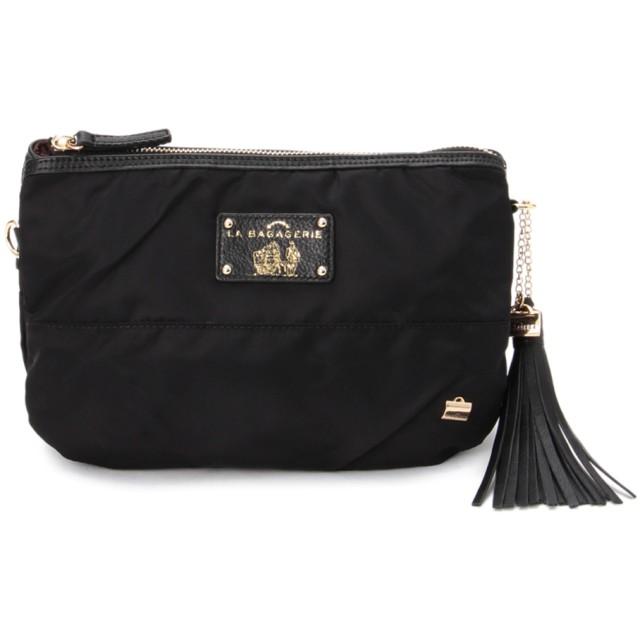 LA BAGAGERIE ラバガジェリー ウォータープルーフナイロン お財布ポシェット ショルダーバッグ,ブラック