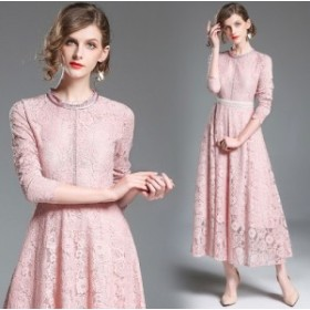 フラワー柄 ピンク レース ウエストマーク フレア ロングドレス