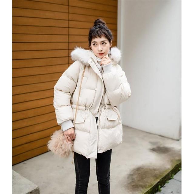 [55555SHOP] しっかり暖かい中綿ロングコート 韓国ファッション ダウンジャケット アウター レディース ロング ダウンコート可愛い 綿入れ 暖かい 極暖