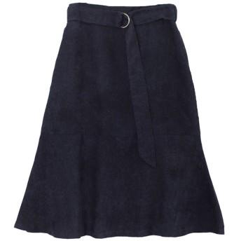 ユアーズ ur's ベルト付裾フレアコーデュロイスカート (ネイビー)