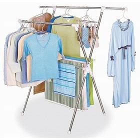 物干しスタンド X型 便利室内物干し 伸縮パイプ ステンレス製 洗濯物干し ( ハンガー物干し )