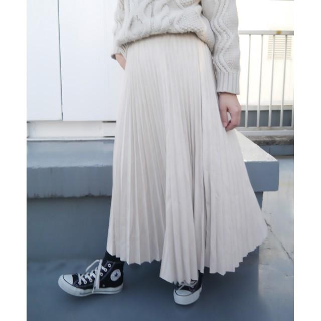 プリーツスカート - CORNERS フェイクスエードプリーツロングスカート ロングスカート プリーツ 秋冬 スカート スエード プリーツスカート