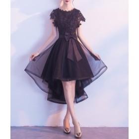 ドレス ワンピース ミディアム ひざ丈 ウエストリボン 大きいサイズ パーティー お呼ばれ 結婚式 ブラック 5115