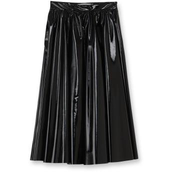 MSGM エナメル風ミモレ丈ギャザースカート ミモレ丈・ひざ下丈スカート,ブラック