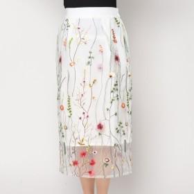 スタイルブロック STYLEBLOCK チュール花柄刺繍ミモレ丈タイトスカート (ホワイト)
