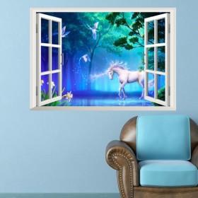 ウォールステッカー 壁紙シール シールタイプ 窓辺 窓枠 ユニコーン 風景画 景色 3D 立体的 森林 幻想的 ロマンチック 美麗 壁シール トリック
