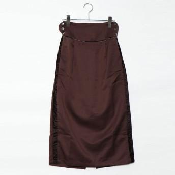 スタイルブロック STYLEBLOCK ツイルベルベットラインスカート (ブラウン)