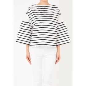 Munich ギザコットンワイドスリーブボーダープルオーバー Tシャツ・カットソー,ホワイト×ブラック
