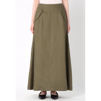 SACRA SACRA/サクラ リネンツイル スカート ミモレ丈・ひざ下丈スカート,カーキ