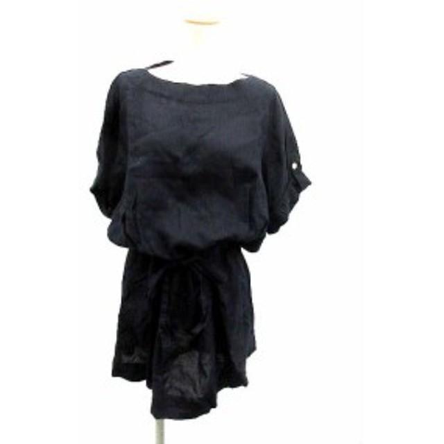 【中古】Traditional Weatherwear SHIRT ワンピース フレア ひざ丈 リネン リボン 五分袖 XS 紺 /YI45 レディース