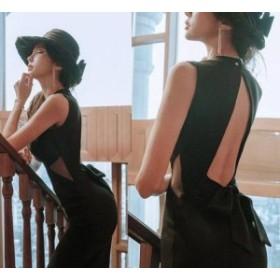 パーティドレス ひざ丈 ノースリーブ 40代 黒 結婚式 春夏 タイト バックコンシャス クルーネック 上品 セクシー b710