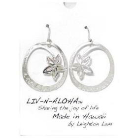 【kahiko】LEIGHTON LAM LIV-N-ALOHA プルメリアピアス シルバー