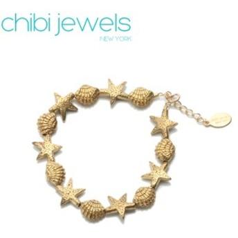 チビジュエルズ ブレスレット Chibi jewels Bracelet スターフィッシュアンドカックルシェルビードブレスレットB136