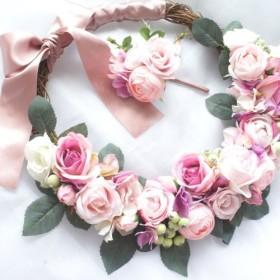 幸せの輪(wreath)で繋ぐ♪ローズたっぷりリースブーケ