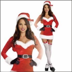 セクシーサンタのコスチューム クリスマス コスプレ サンタクロース ミニワンピース 仮装 パーティー イベント