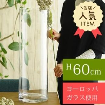 ガラス花瓶 EUROグラス 直径19×高さ60cm フラワーベース 大きな 北欧 ヨーロッパ シンプル 円柱 花器 【送料無料