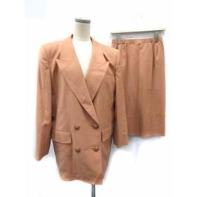 【中古】レリアン Leilian スーツ セットアップ 上下 ジャケット スカート ダブル 9 ベージュ /KH ☆CA☆キ8 レディース