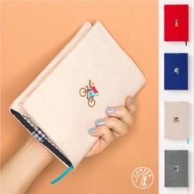 LAMPER ブックカバー おしゃれ かわいい シンプル 刺繍 文庫本 文庫判 布製  男女兼用 ファブリック (leb)