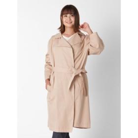 【大きいサイズレディース】【5-6L】シンプルで洗練された雰囲気のトレンチ風コート アウター スプリングコート