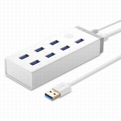 【7口USB3.0HUB帶5V或2A電源-CR116-100cm-1套1組】分線器多介面支援充電手機電腦通用-586062