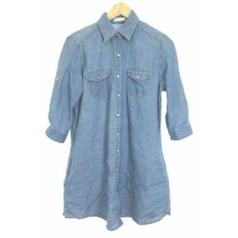 【中古】プロフィール PROFILE ワンピース シャツ ひざ丈 ボタンフライ 七分袖 38 青 ブルー /NN32 レディース