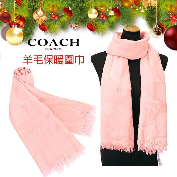 COACH粉色C Logo羊毛混絲保暖流蘇圍巾 秋冬新款
