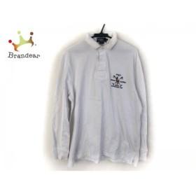ポロラルフローレン 長袖ポロシャツ サイズL メンズ 美品 白×ネイビー×マルチ 刺繍   スペシャル特価 20190630