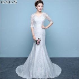 花嫁ドレス ウェディングドレス 結婚式 ノースリーブ ワンピース 身 着痩せ ロングドレス