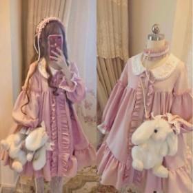 ワンピース レディース 膝丈 長袖 ロリータワンピース Lolita ドレス ピンク 襟付き ガーリー ゆったり ロリィタ